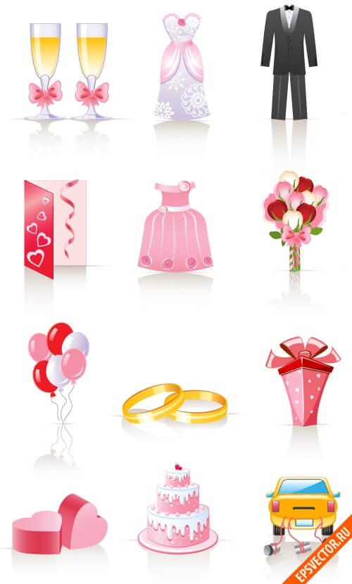 Свадебные иконки: epsvector.ru/303-svadebnye-ikonki.html