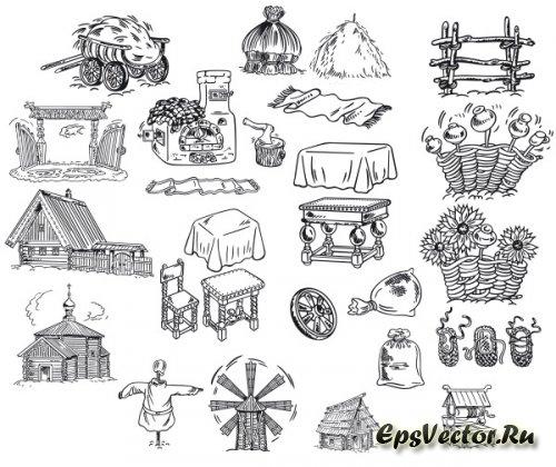 Деревня в векторе