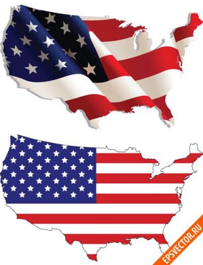 Флаг США в векторе