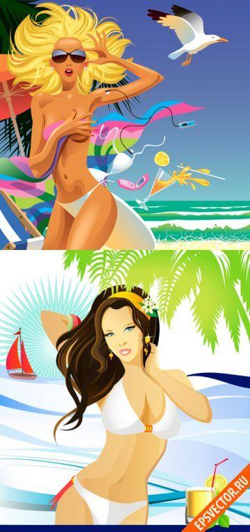 Девушки на пляже в векторе