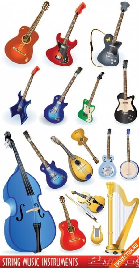 Музыкальные инструменты в векторе