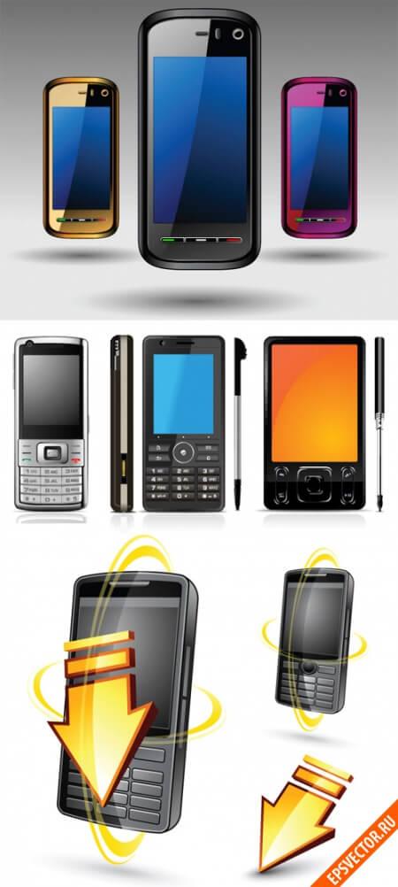 Мобильный телефон в векторе