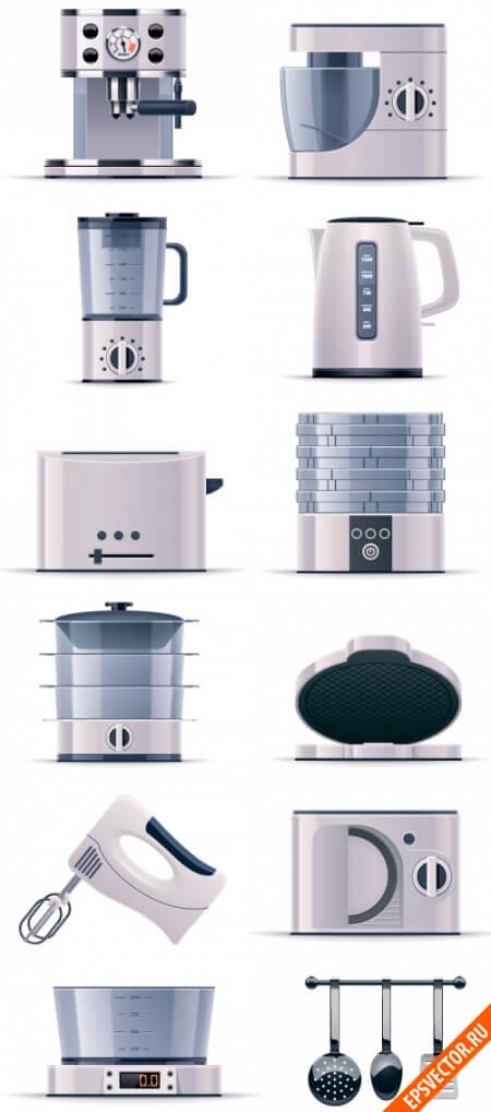 Кухонная техника в векторе