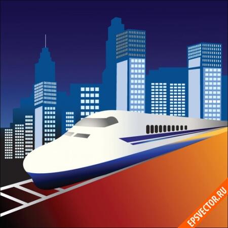 Поезд в векторе