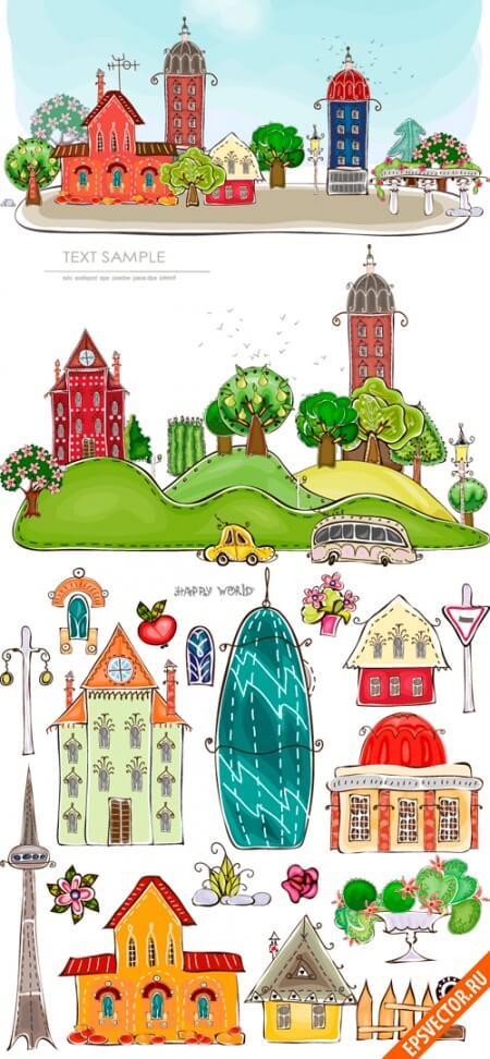 Рисованный город в векторе