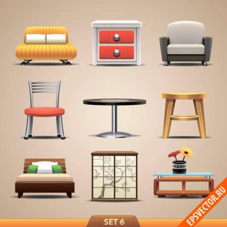 Мебель в векторе