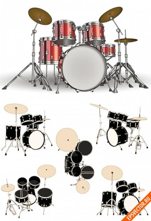 Клипарт барабаны в векторе