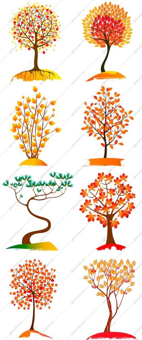 Клипарт осенние деревья