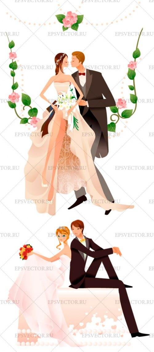 Клипарт жених и невеста в векторе