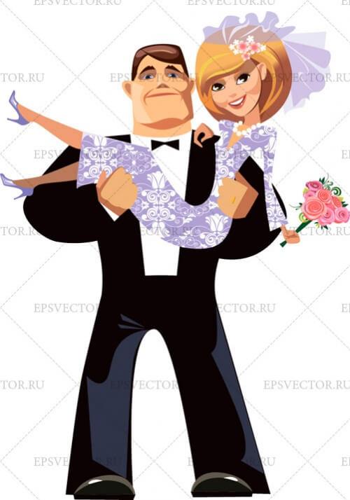 Жених и невеста в векторе