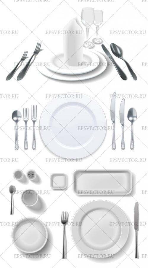 Клипарт тарелки в векторе