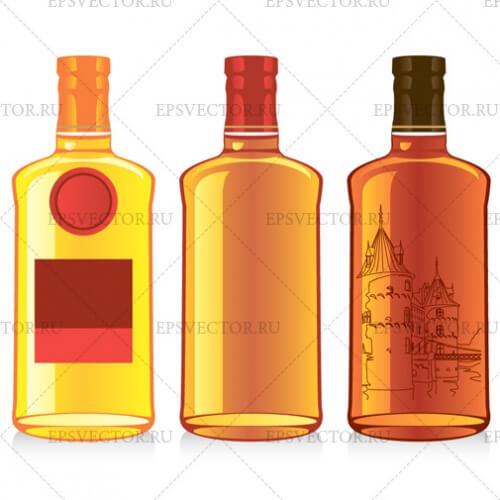 Виски и коньяк в векторе