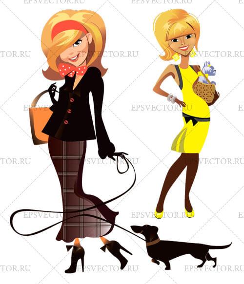 Клипарт девушка с собакой